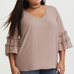 NEW TORRID Toffee Brown Bell Sleeve Chiffon Blouse